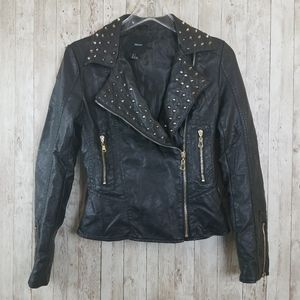 Forever 21 Jackets & Coats - Forever21 Studded Faux Leather Black Jacket Size S